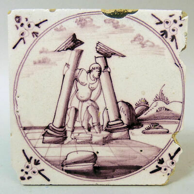 Antique Dutch Delft Manganese Pottery 'Hercules' Design Tile C.1750