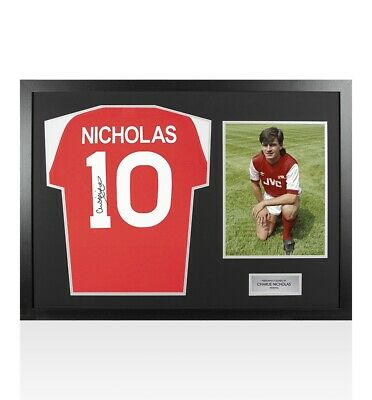 Framed Charlie Nicholas Signed Arsenal Shirt Number 10 - Panoramic Autograph