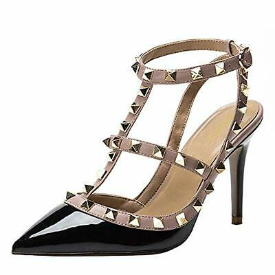 Women's Sexy Pointed Toe Studded Strappy High Heel Stiletto Sandals Shoes  Party