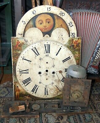 Antique 1800's 8 Day Grandfather Longcase Clock Moon Phase Movement 7 Dial