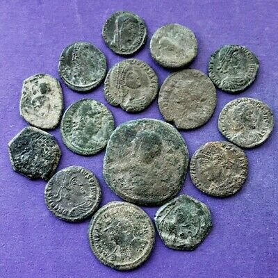 M3095Lot of 15 uncleaned Roman/Byzantine bronze coins 15-28mm 2oz