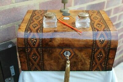 NICE c 1870 TUNBRIDGE STYLE INLAY FIGURED WALNUT WRITING SLOPE BOX  INK WELLS +