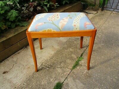 Fab Vintage Retro Quality Oak(?) Dressing Table Piano Stool Blue Floral Chambray