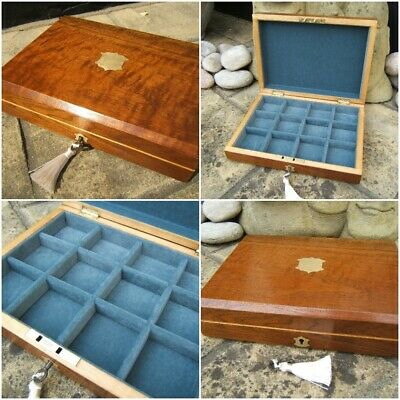 LOVELY 19c SOLID WALNUT ANTIQUE JEWELLERY/ BOX - FAB INTERIOR