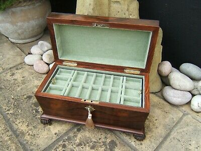 Lovely Large 19C Early Victorian Rosewood  Antique Jewellery Box - Fab Interior
