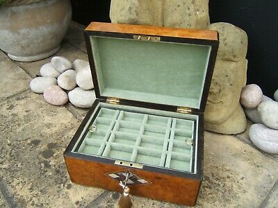 Lovely 19C Victorian Walnut Inlaid Antique Jewellery Box - Fab Interior