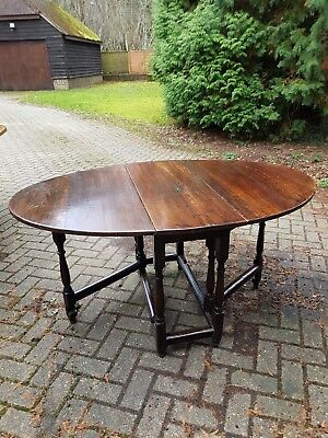 William and Mary Late 17th Century Period Oak Oval Gate Leg Table Dark Patina