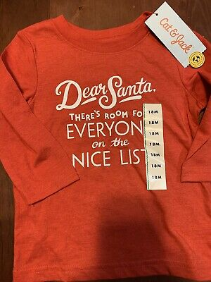 NWT-Kids 18 Mo Red DEAR SANTA, THERE'S ROOM FOR EVERYONE ON THE NICE LIST Shirt