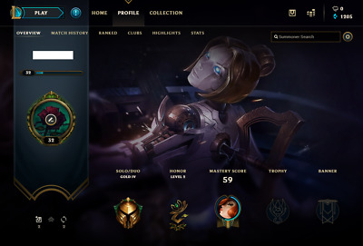 League of Legends EUW Account Gold 4 (89% WINRATE) Season 9