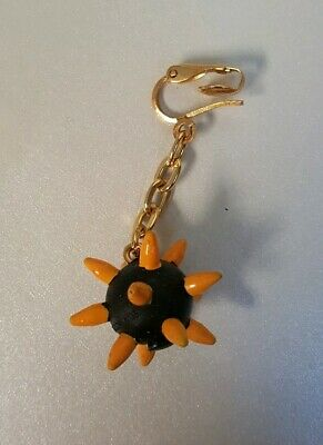 Vintage 80s Clip On Rubber Spiked Ball Earring