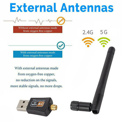 600Mbps AC Dual Band 2.4G/5G Wireless Network Lan Adapter USB Wifi Receiver SPD