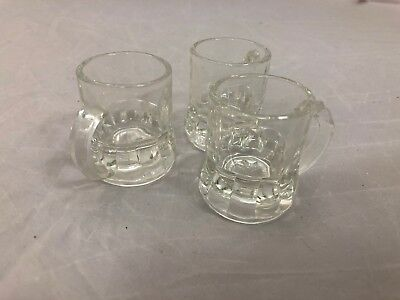 3 Federal Glass Clear Miniature Beer Mug Shot Glass Signed F with Shield Lot