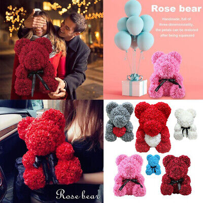 23/25/40CM Rose Teddy Bear Foam Rose Flower Bear Gift For Birthday Wedding