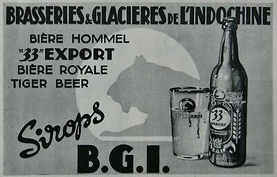 Document presse brasseries glacières Indochine BGI bière Hommel Tiger beer 1953