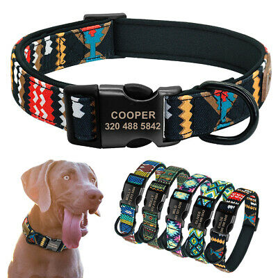 Personalized Dog Collar Nylon Collars for Dogs Engraved ID Tag Buckle Custom ID