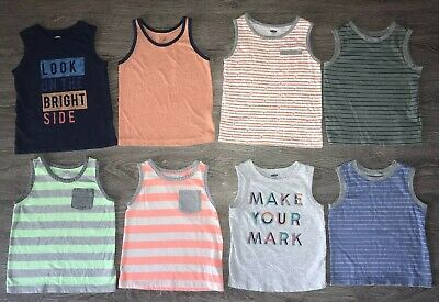 Toddler Boy 2T Old Navy Gap Tank Top Lot Stripes Blue Orange Gray
