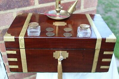 QUALITY LARGE MID VICTORIAN c 1860 BRASS INLAY ROSEWOOD WRITING SLOPE BOX LOKING