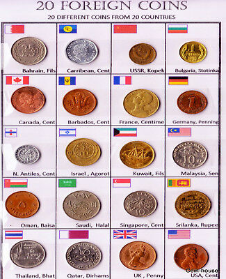 Lot 20pcs Old World Coins from 20 Different Countries AUNC Rare Set + Details