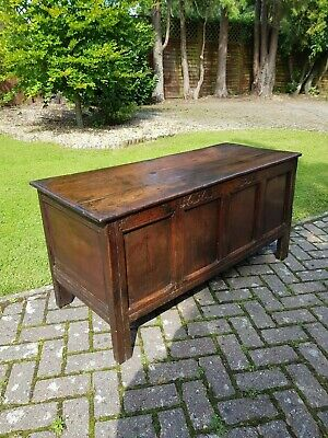 Dated 1676 Charles II Early English Oak Coffer Chest Initialled ET