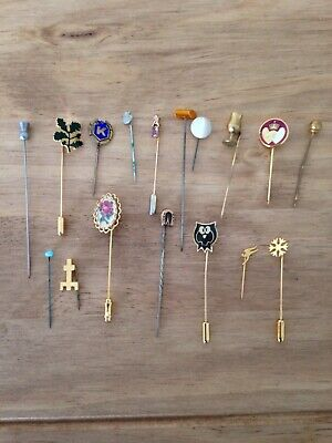 Collection Of 14 Antique Vintage Pin Brooches Various Styles & Ages All VGC