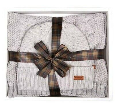 Barbour Hat & Scarf Gift Set in Soft Grey, ONE SIZE. NEW IN BOX.