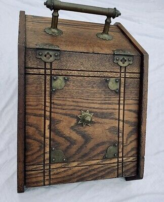 Circa 1900 Oak Antique Coal Scuttle Box & Scoop Mission Arts & Crafts Furniture