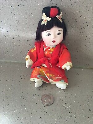 """Vintage Asian Oriental Gofun China Doll 8"""" Jointed Glass Eyes"""