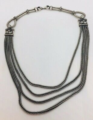 Vintage Sterling Silver Ethnic Tribal Hand Made Chain Necklace