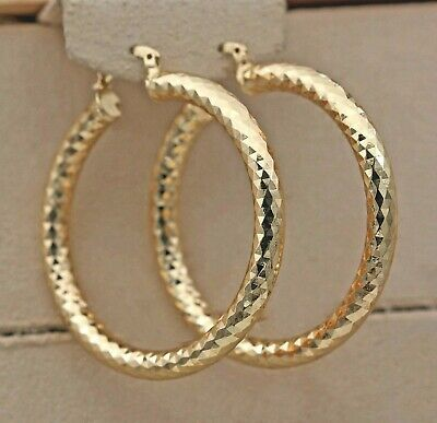 """Party Big 2.1"""" L8 Geometry Filled Gold Earrings Concave Hoop 18K Bling"""