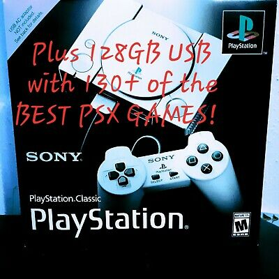 Modded Playstation Classic With 128GB USB Hub & Cable with 130+ Best PS1 Games