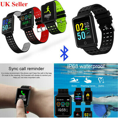 Bluetooth Smart Watch Sport Waterproof Fitness Tracker Monitor for iOS Android