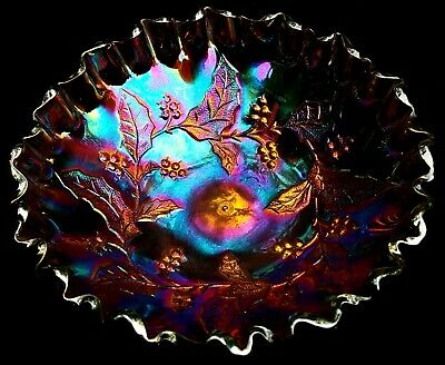 Antique Millersburg Holly High Crimped Amethyst Carnival Glass Bowl ~ ELECTRIC!