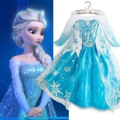Elsa Girls Princess ELSA Dress Queen Cosplay Costume Grils Fancy Dress&Crown 6