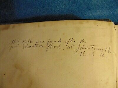 Antique Unique Late 1800 Foreign Bible, Linked to Pennsylvania Johnstown Flood
