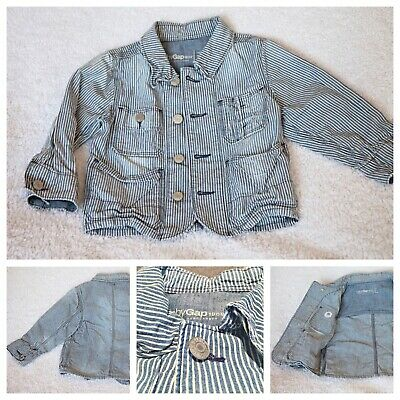 Baby Gap Striped Denim Jacket Boys 2T Jean Button Front Toddler Blazer Blue EUC