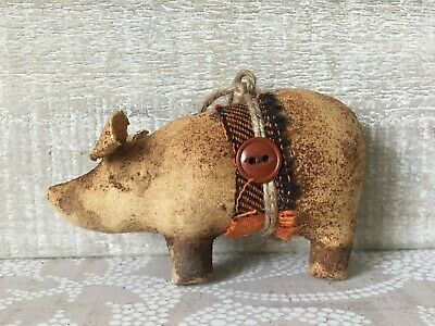 Handmade Grunged Brown Primitive Pig Christmas Ornaments, Animal Ornaments