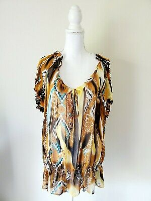 The Goddess Collection Yellow Brown Tunic Blouse Women Plus Size 3X Polyester