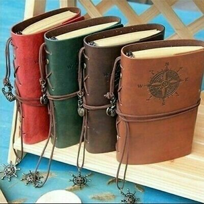 Brown Diary Journal Retro Vintage Sketchbook Leather Cover Loose-leaf Notebook