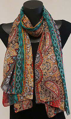 Ladies Fashion Long scarf,30% Silk Sheer fabric, Boho Paisley, Red Green Purple