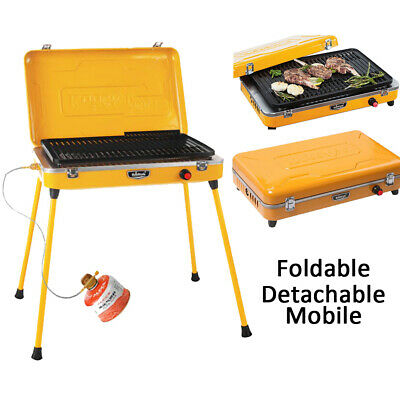 Outdoor Barbecue Grill Gas Portable Fold BBQ Stove Rotisserie Cooking Burner Kit