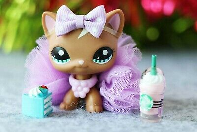 Littlest Pet Shop LPS Short Hair Cat 1170 Brown Kitty With Accessories Authentic