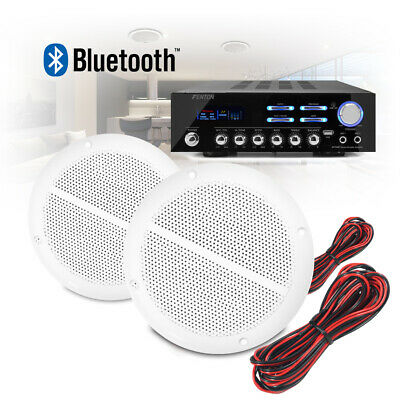 """5"""" Bathroom Kitchen Ceiling Speakers and Bluetooth Amplifier Audio Stereo System"""