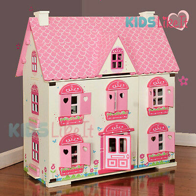 New Rosebud Kids GIRLS Wooden Dolls House Miniature with Pink Full set Furniture