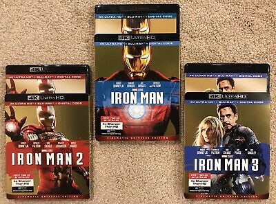 Iron Man Trilogy [4K UHD + Blu-ray] 1 2 3 - LIKE NEW w/ Slipcovers - No Digital