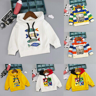 Toddler Infant Baby Kids Boys Stripe Letter Hooded Pullover T-shirt Tops Clothes