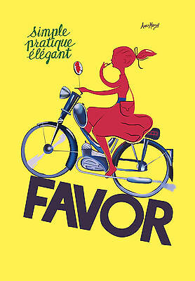 FAVOR BIKES  VINTAGE ART PRINT old  painting canvas yellow France