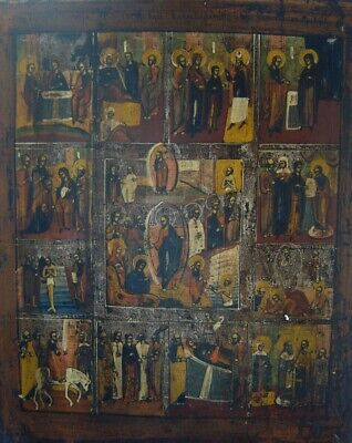 Large 18/19th Century Russian Orthodox Icon Multiple Bible Scenes