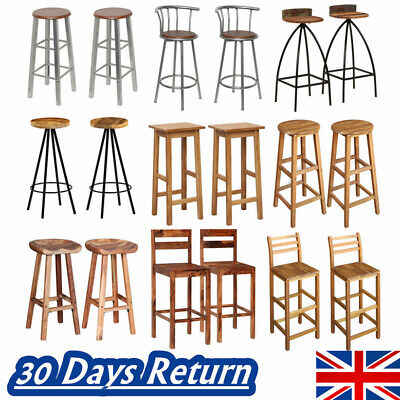 2x Bar Stools Bar Chair High Legs Seat Breakfast Bars Kitchen Barstools Vintage