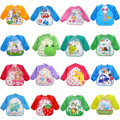 Baby Kid Feeding Bib With Long Sleeve Plastic Coverall Smock Apron Cartoon Print