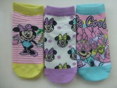 Disney Minnie Mouse Shoe Liner Ankle Socks (3) Pairs Age 3-6 Years Uk 9-12